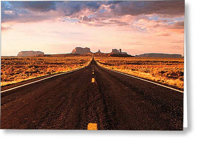 Kim Photographs Greeting Cards - Endless Road to Monument Valley Greeting Card by Kim Lessel