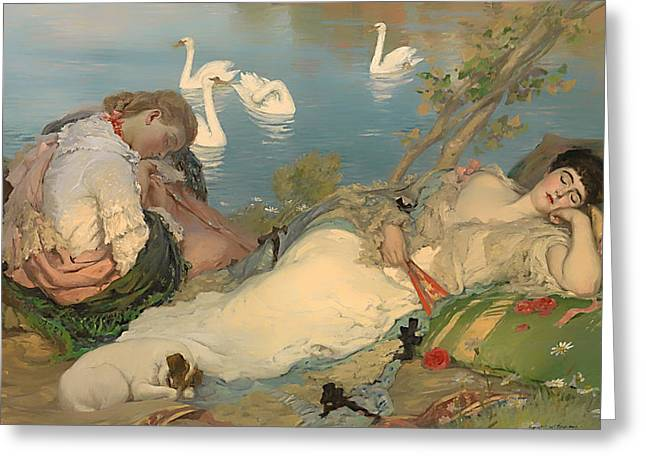 Cushion Paintings Greeting Cards - Endormies Greeting Card by Rupert Bunny