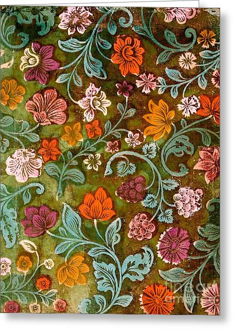 Foliage Tapestries - Textiles Greeting Cards - Endplate from a Turkish Book Greeting Card by Turkish School