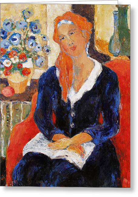 Portrait With Red Chair Greeting Cards - Endurance Greeting Card by Becky Kim