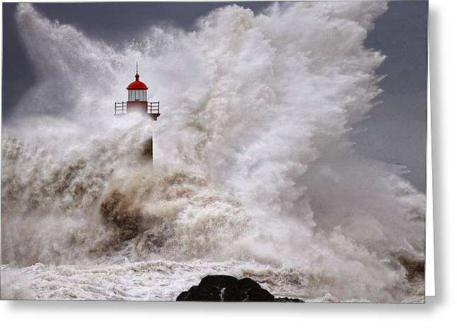 Ocean Photography Pyrography Greeting Cards - Enduring the Elements Greeting Card by Veselin Malinov
