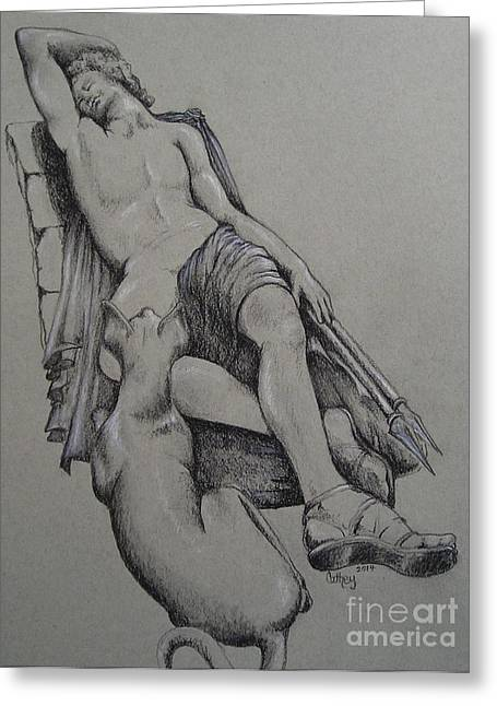 Greek Sculpture Drawings Greeting Cards - Endymion Greeting Card by Catherine Howley