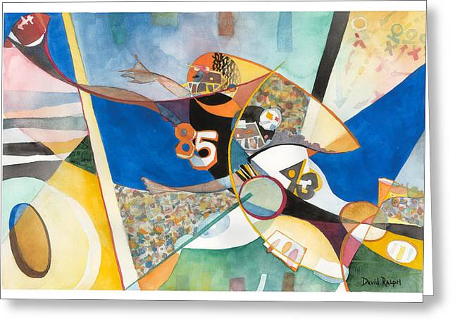 Endzone Greeting Cards - Endzone Catch Greeting Card by David Ralph