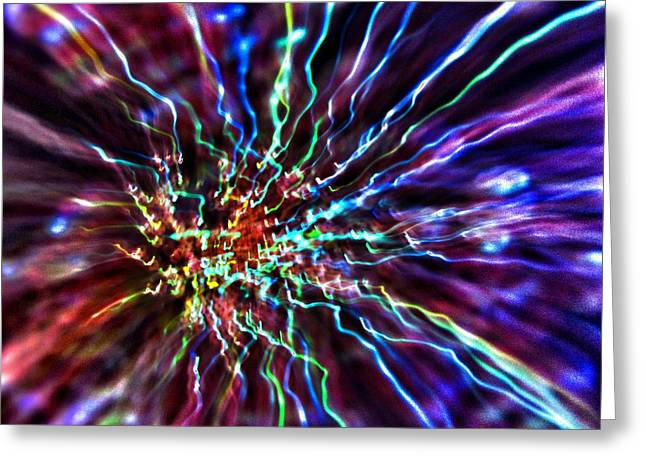 Burst Greeting Cards - Energy 2 - Abstract Greeting Card by Marianna Mills