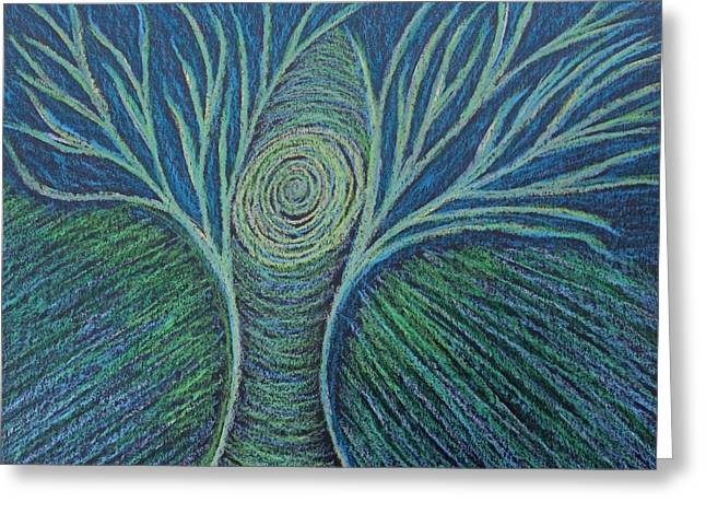 Transformations Pastels Greeting Cards - Energy Being Revealed Greeting Card by Jamie Rogers