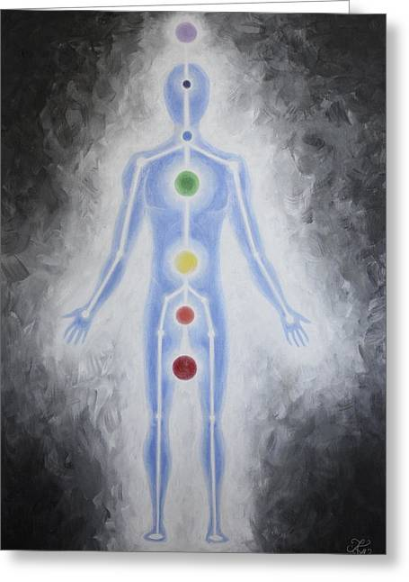 Figure Based Greeting Cards - Energy Body Greeting Card by Karen Kliethermes