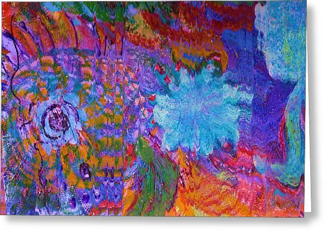 Burst Mixed Media Greeting Cards - Energy Burst II Greeting Card by Anne-Elizabeth Whiteway