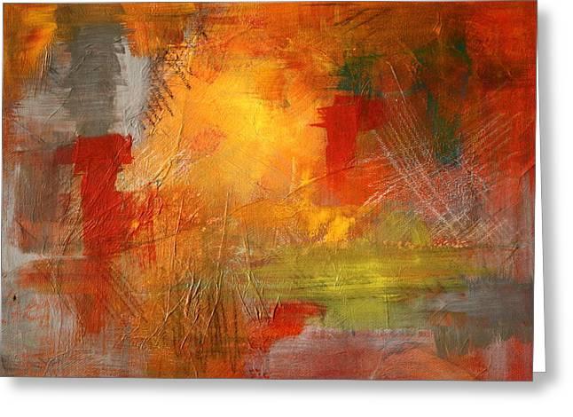 Burst Paintings Greeting Cards - Energy Burst Greeting Card by Nancy Merkle