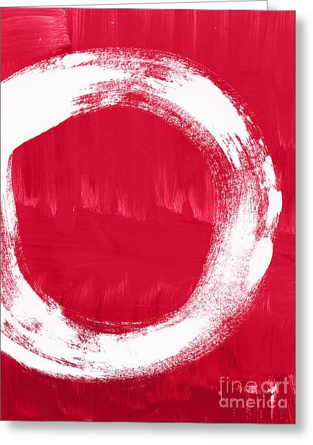Red And White Greeting Cards - Energy Greeting Card by Linda Woods