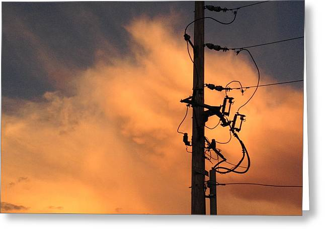 Power Photographs Greeting Cards - Energy-Power Line-Clouds Greeting Card by Don Spenner