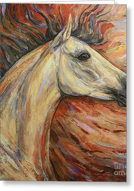 Horse Images Paintings Greeting Cards - Energy Greeting Card by Silvana Gabudean