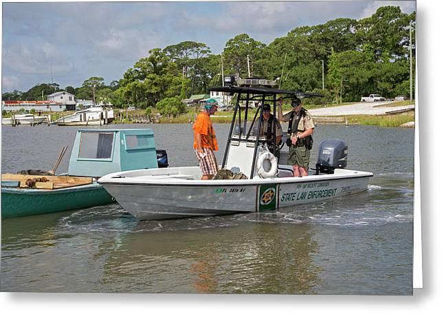 Enforcing Oyster Harvesting Regulations Greeting Card by Jim West