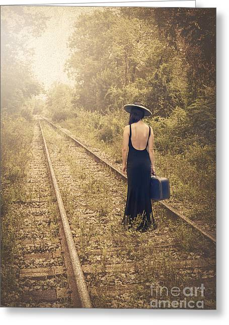 Railroad Tracks Greeting Cards - Engaged With Destiny Greeting Card by Evelina Kremsdorf