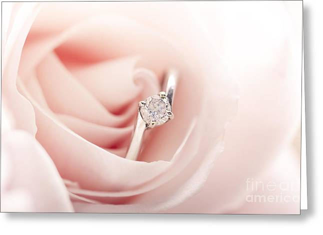 Jewelery Greeting Cards - Engagement ring in pink rose Greeting Card by Jelena Jovanovic