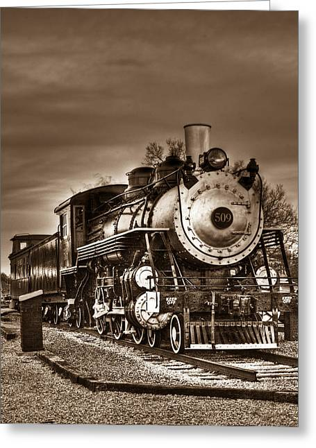 Grate Greeting Cards - Engine 309 Sepia 1 Greeting Card by Douglas Barnett
