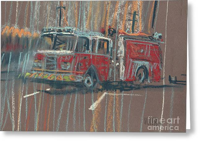 Fire Truck Greeting Cards - Engine 56 Greeting Card by Donald Maier