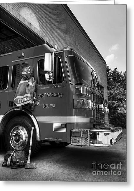 Black Boots Greeting Cards - Engine 751 bw Greeting Card by Mel Steinhauer