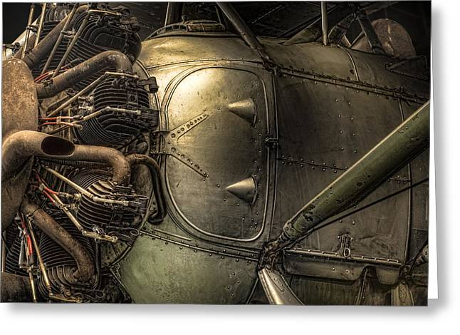 Recently Sold -  - Intrigue Greeting Cards - Engine and fuselage detail - Radial engine aluminum fuselage vintage aircraft Greeting Card by Gary Heller