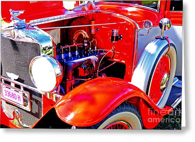 Mudguard Greeting Cards - Engine Bay of Graham Paige Car Greeting Card by Christopher Edmunds