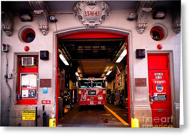 Midtown Greeting Cards - Engine Company 65 Firehouse Midtown Manhattan Greeting Card by Amy Cicconi