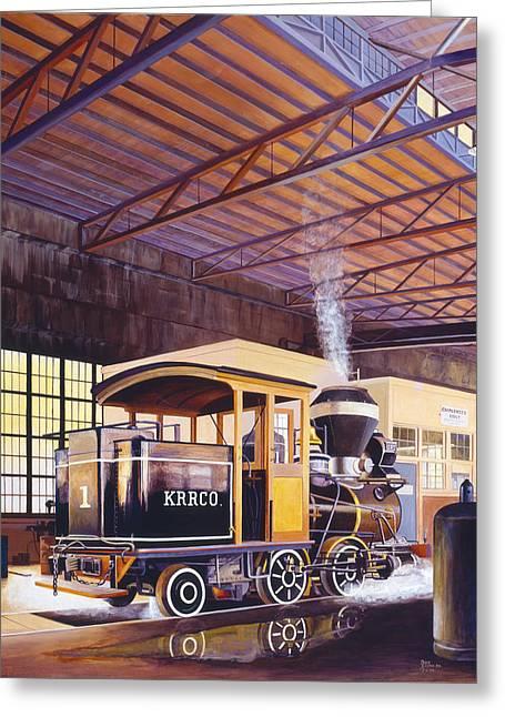 Don Jusko Greeting Cards - Engine Number 1  Kahalue RR Co. Greeting Card by Don Jusko