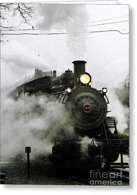 Railroads Framed Prints Greeting Cards - Engine Number 40 Making Steam Pulling Into New Hope Passenger Train Terminal Greeting Card by Michael Hoard