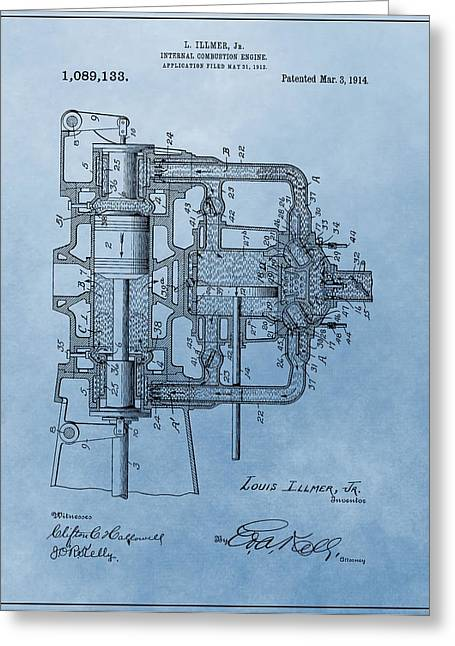 Mechanics Mixed Media Greeting Cards - Engine Patent Blue Greeting Card by Dan Sproul
