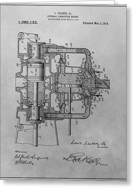 Mechanics Drawings Greeting Cards - Engine Patent Drawing Greeting Card by Dan Sproul