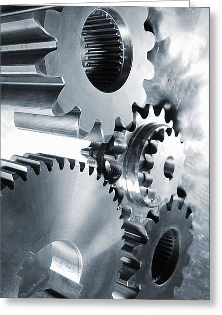 Gear Greeting Cards - Engineering And Technology Gears Greeting Card by Christian Lagereek