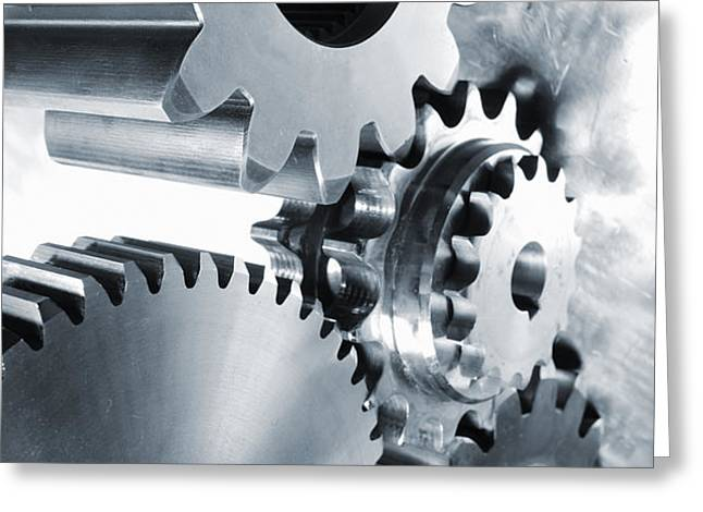 engineering and technology gears Greeting Card by Christian Lagereek