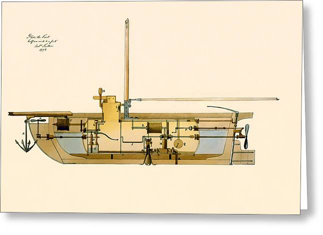 Mechanics Drawings Greeting Cards - Engineering Design for a Submarine 1806 Greeting Card by Mountain Dreams