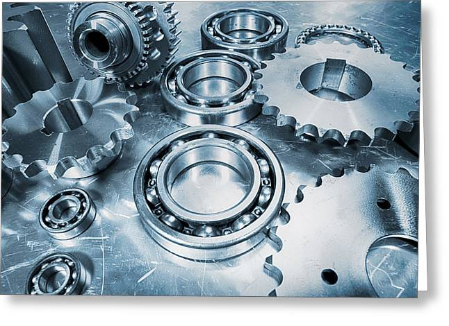 Stainless Steel Greeting Cards - Engineering Gears And Bearings Greeting Card by Christian Lagereek
