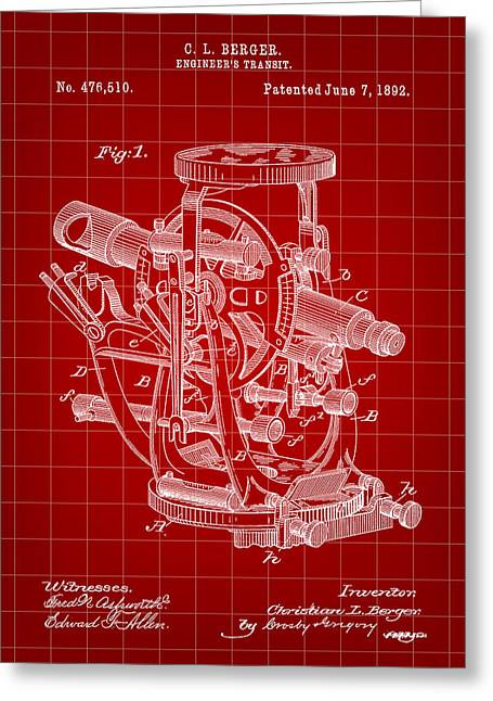 Land Surveyor Greeting Cards - Engineers Transit Patent 1892 - Red Greeting Card by Stephen Younts