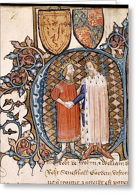 Written French Greeting Cards - England And Scotland Make Peace Greeting Card by British Library