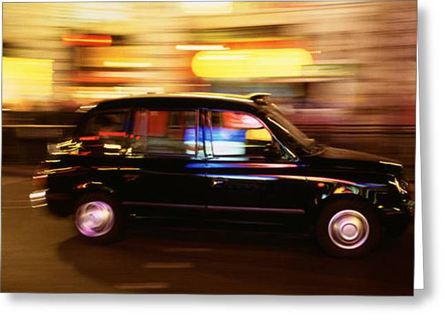 Public Transportation Greeting Cards - England, London, Black Cab In The Night Greeting Card by Panoramic Images
