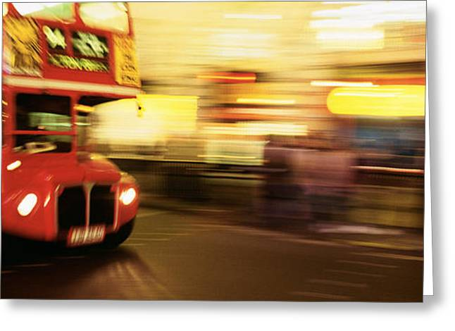 Headlight Greeting Cards - England, London, Bus On The Street Greeting Card by Panoramic Images