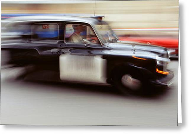 Driving Greeting Cards - England, London, Moving Cab Greeting Card by Panoramic Images