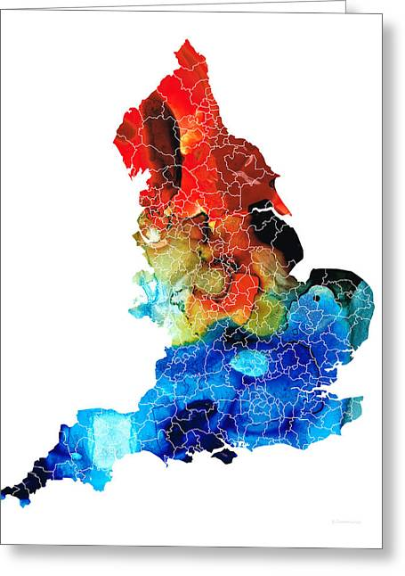 Europe Mixed Media Greeting Cards - England - Map of England by Sharon Cummings Greeting Card by Sharon Cummings