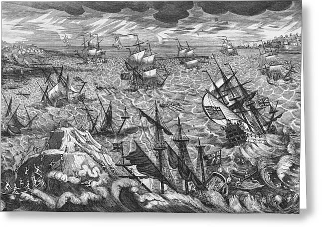High Seas Greeting Cards - England s Great Storm Greeting Card by English School