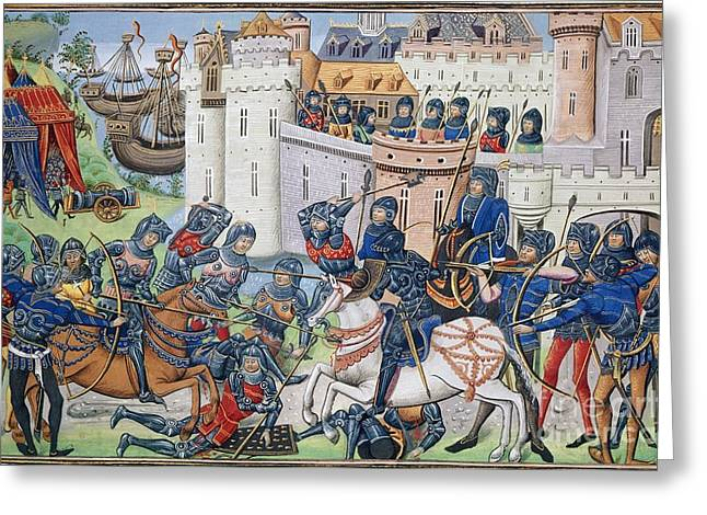 1300s Greeting Cards - English Army At Brest In 1386 Greeting Card by British Library