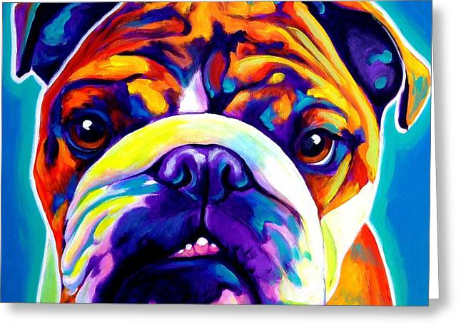 English Bulldog Portrait Greeting Cards - Bulldog - Bond Greeting Card by Alicia VanNoy Call