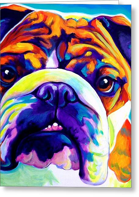 English Bulldog Portrait Greeting Cards - Bulldog - Bond -square Greeting Card by Alicia VanNoy Call