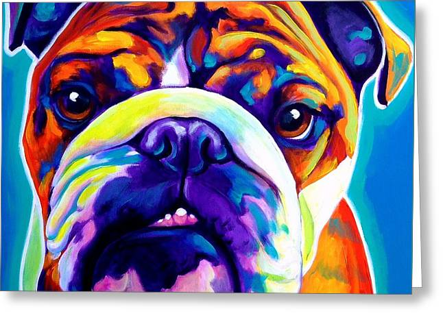 Alicia Vannoy Call Paintings Greeting Cards - Bulldog - Bond -square Greeting Card by Alicia VanNoy Call