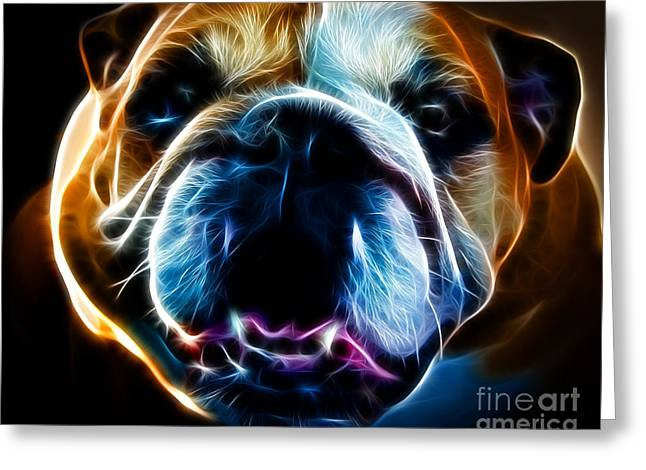English Bulldog - Electric Greeting Card by Wingsdomain Art and Photography