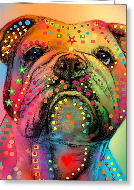 English Bulldog Portrait Greeting Cards - English Bulldog Greeting Card by Mark Ashkenazi