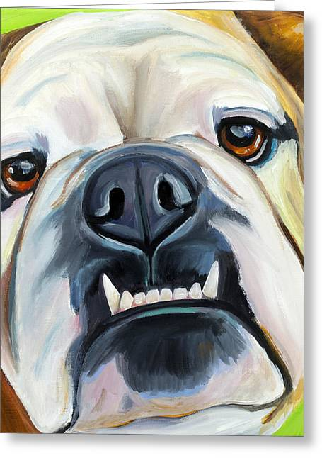 English Bulldog Portrait Greeting Cards - English Bulldog Greeting Card by Melissa Smith