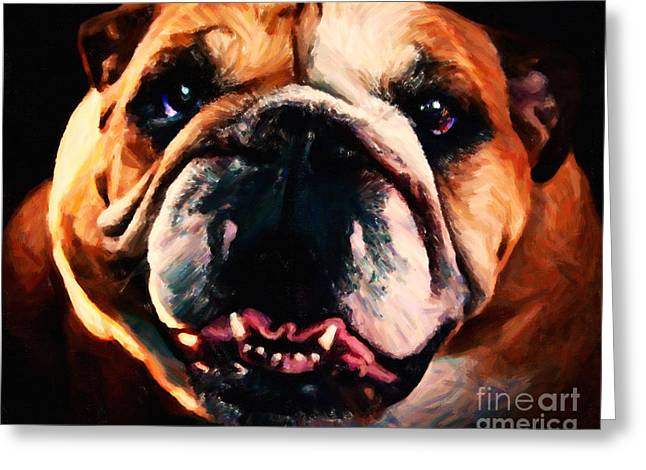 English Bulldog - Painterly Greeting Card by Wingsdomain Art and Photography