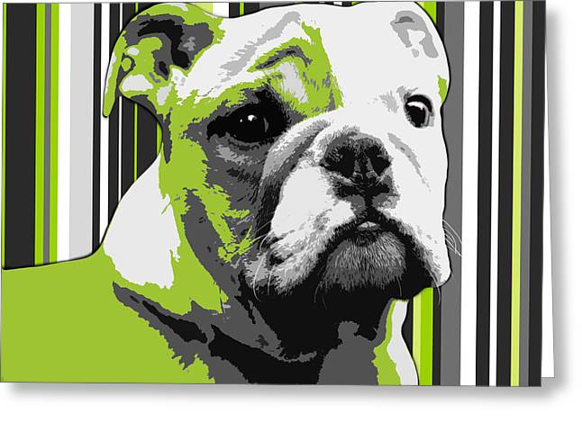 Bulldog Puppies Pictures Greeting Cards - English Bulldog Puppy Abstract Greeting Card by Natalie Kinnear