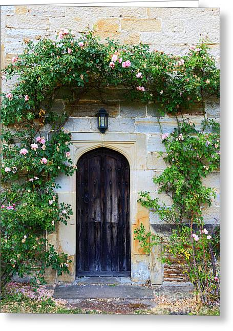 Historic England Greeting Cards - English Church Door and Roses Greeting Card by James Brunker