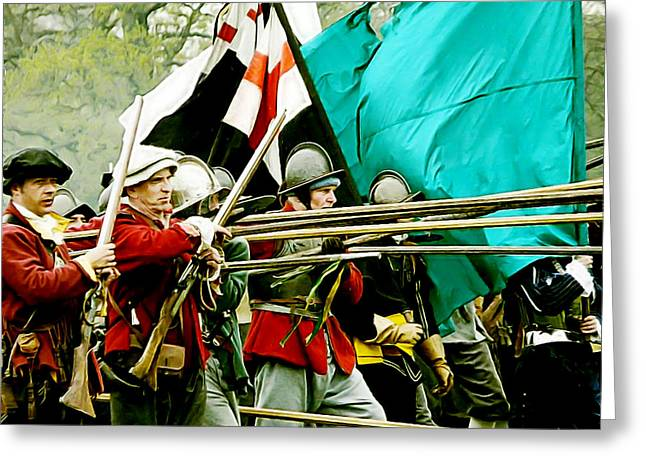 Historical Re-enactments Digital Art Greeting Cards - English Civil War Infantry Greeting Card by Gerald McNamee